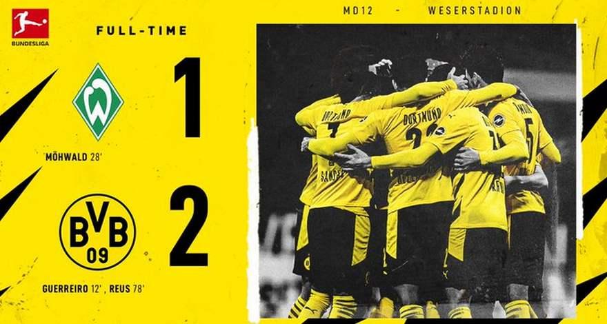 Бундеслига (12-ый тур): «Вердер» (Бремен) — «Боруссия» (Дортмунд). Трудная победа команды Эдина Терзича.