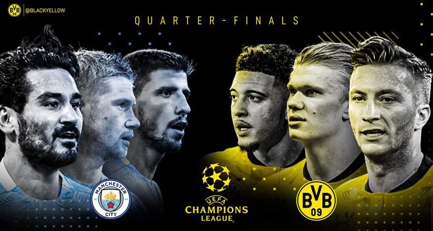 Лига Чемпионов (1/4 финала, 1-й матч): «Манчестер Сити» (Манчестер, Англия) — «Боруссия» (Дортмунд, Германия). Перед матчем.